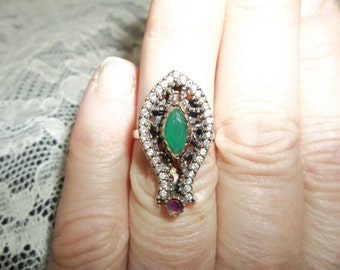 Beautiful  EMERALD ...RUBY& White Topaz Ring...Size 6.5... Sterling Silver Bohemian Bling...Turkish...July Birthstone