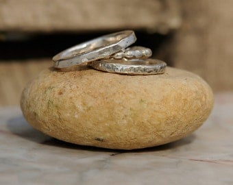 Bohemian Stacking Rings - Sterling Silver Stacking Rings - Stacking Ring set of Three - Boho Stack Rings