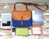 Blue Mini Waxed Canvas Messenger Bag - Brown Leather Single Strap Shoulder bag / Messenger Bag / Diaper Bag
