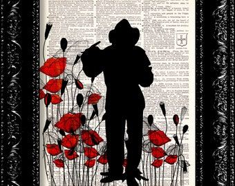 Wizard Of Oz Scarecrow Poppy Field - Frank Baum - Dictionary Print Vintage Book Page Art Upcycled Vintage Book Art