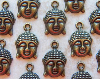 22X15mm Antique Bronze Sleeping Buddha Charm Pendants, 6 PC (INDOC411)