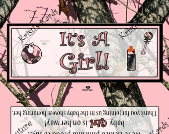 INSTANT DOWNLOAD Camoflauge Baby Girl Shower Candy Bar Wrapper Digital File for you to PRINT
