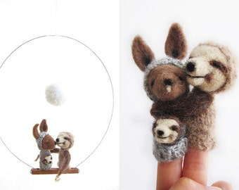 BABY MOBILE / Wall Hanging, Kangaroo & Sloht Family, Mother, Father and Baby, felted wool toy and nursery decor