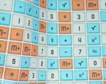 Vintage calculator button fabric fat quarter mod geek quilting math numbers