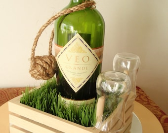 SALE: Serving Tray Greenery Box - Great for Tastings (includes tasting glasses)