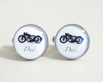 Dad Motorcycle Cufflinks - Stainless Steel Black and White Motor Cycle Bike Cuff Links
