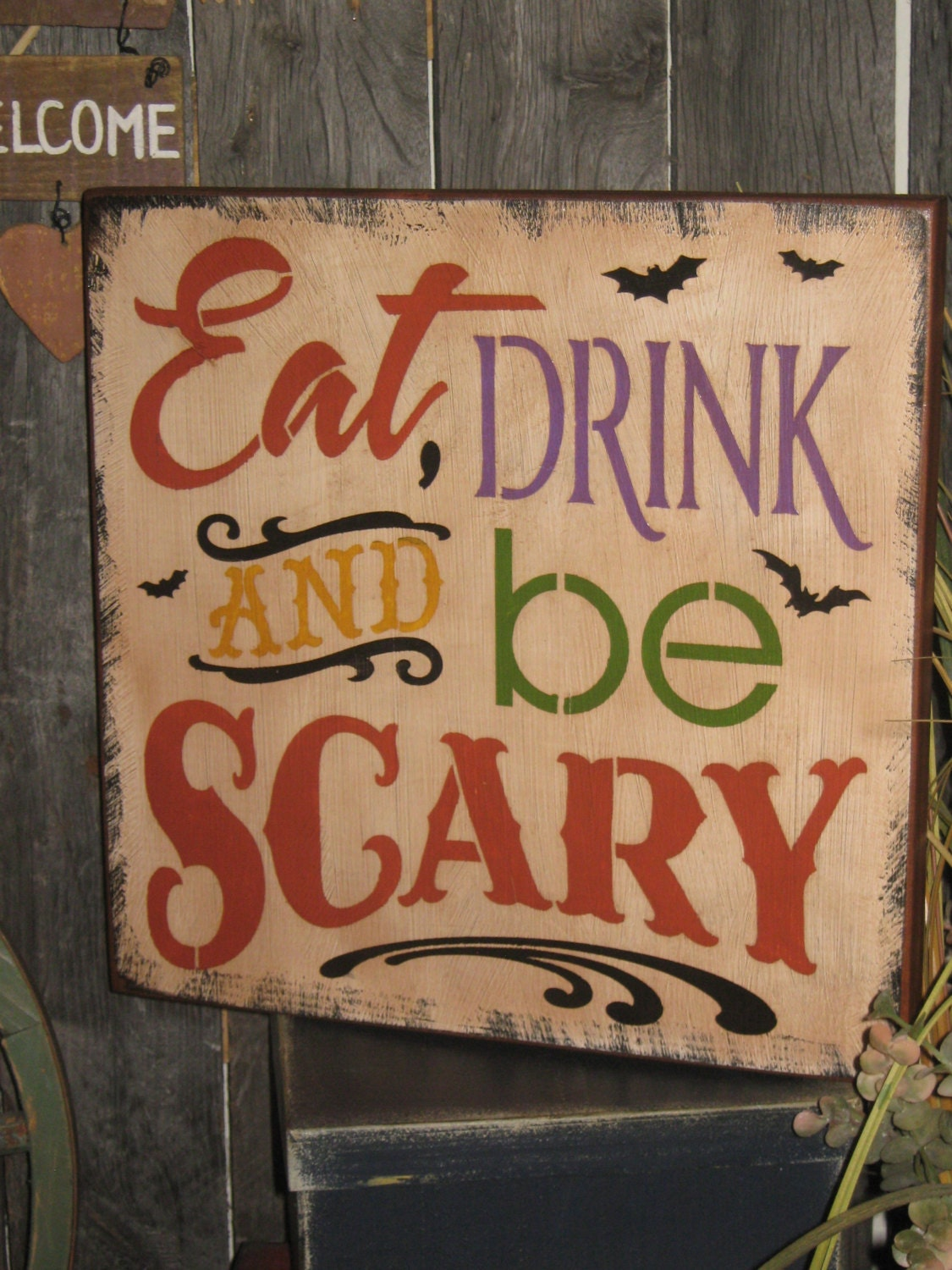 Primitive Lg Wood Holiday Halloween Subway Sign Bats Witch