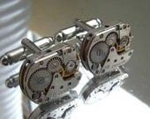 Steampunk Cufflinks with small identical vintage watch movements. Vintage upcycled mens Cuff Links,Gift under 25 Dollars