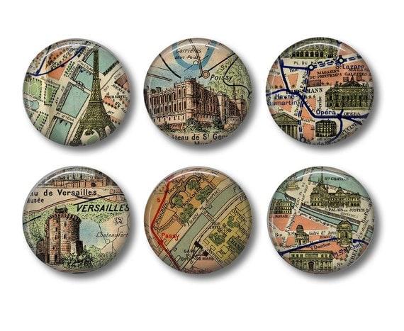 Vintage Paris map button badges or fridge magnets
