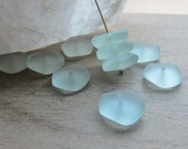 Sea Glass Bead Freeform Button Spacer Bead Seafoam 14mm - 15mm QTY 10
