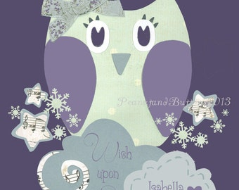 Purple Gray nursery, Baby girl nursery, Owl Nursery Art, Personalized baby Art, Kids Bird Wall Art, Lavender grey, 8x10 baby print