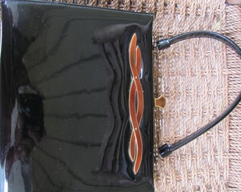 Vintage LEWIS Black Patten Leather Handbag