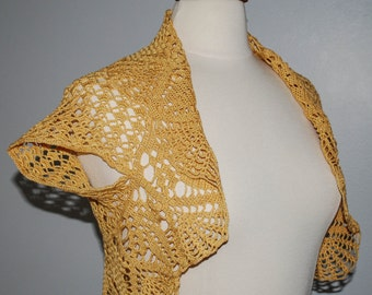 Yellow brown crochet shrug bolero