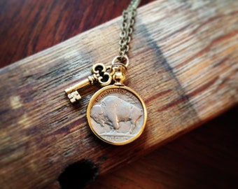 Buffalo Nickel Necklace, Authentic, Charmed, Gold, Silver, Antique, Brass, Pendant