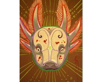 pink axolotl, amphibian totem spirit animal art, DIGITAL DOWNLOAD