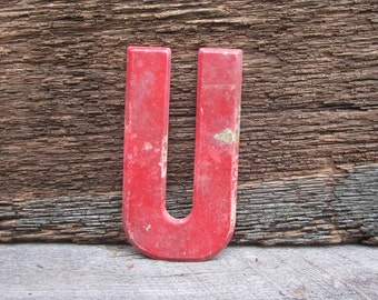 Vintage Letter Sign Metal Letter U Sign Red Antique Chippy Rusted Old Marquee Metal Letter Rusty Wall Art Number Art Alphabet Signs Old