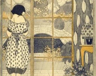 Art Nouveau ART PRINT Girl Gazing Out Window Poster Print of Painting by Anichini