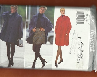 Butterick 3689 Oversized Dolman Sleeve Car Coat with  Welt Pockets and Mock Wrap Skirt Sizes 12-14-16 UNCUT