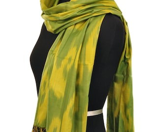 Ferghana Valley Green Ikat Silk Scarf - 6100. Free Shipping on orders 100 dollars and up (USA). Coupon Code: USFREESHIPPING