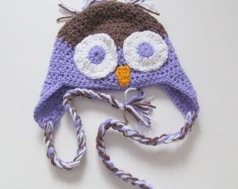 Custom Owl Hat You Choose Color and Size Newborn to Adult