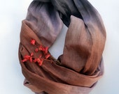 Brown and Lavender Scarf - Linen Hand-Dyed Scarf - Pure Linen Shawl - Long Linen Scarf - Fashion Scarf - Accessories
