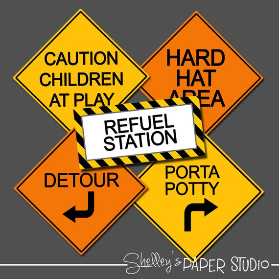 construction birthday road signs