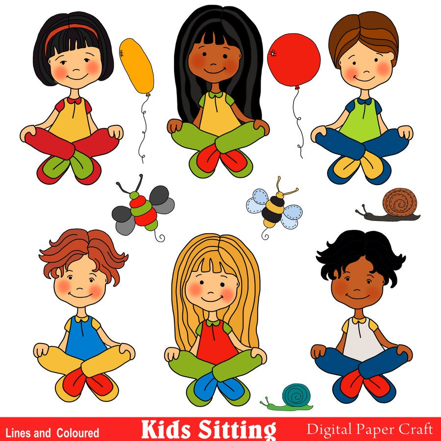 children clipart children color in line art printable kids