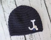 Monogram Baby Hat   Newborn Baby Hat   Letter Hat   Crochet Baby Hat - sizes Newborn to Teen