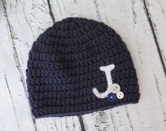 Custom Monogramed Crocheted Boy Hat with Felt Initial. - sizes Newborn to Teen