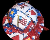 Patriotic Hat Shaped Pin Cushion with Red lace tied into a bow - a sewing accessory