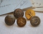 Vintage French Livery Buttons, Crowns and Coat of Arms buttons, Decorative Buttons, Antique Buttons, Vintage Supplies