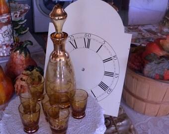 Vintage 1920s  Venetian Art Glass Gold Overlay Decanter Set