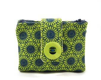 Small Pouch Coin Wallet Two Sided Pouch Zipper Pouch Cute ID Holder Daisies Navy Blue Green Change Holder Holiday Gift Ready to Ship