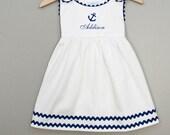 White Pique Anchor Dress-Monogrammed  Dress - Back To School Dress