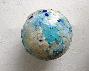 Sea Glass Covered Sphere - Gazing Ball - Home Decor - Orb
