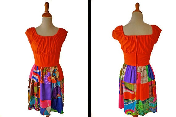 PSYCHEDELIC Patchwork Dress // 1960s Neon Krist Brand // Size Small Medium