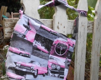 """Handmade Purse, Pink Cadillac Convertible, one of a kind, 14.5"""" x 11.5"""""""