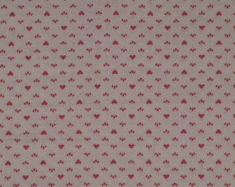 """Vintage Pink Hearts Calico Cotton Fabric Valentines 1 Yard 44"""" Pink and White"""