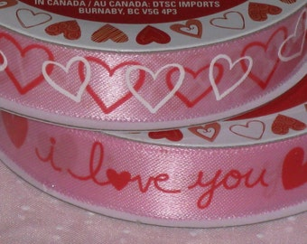 Pink Valentine Ribbon I Love You and Hearts Satin Polyester 6 yards New