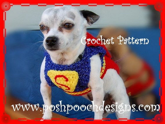 Instant Download Crochet Pattern - Super  Dog Sweater and Cape - Small Dog 2-20 lbs
