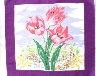 Pink Tulip Cotton Vintage Picture Handkerchief with Purple Border