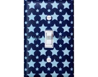 Blue Stars Light Switch Plate Cover / Baby Boy Nursery Decor / Baby Gender Neutral / By Slightly Smitten Kitten