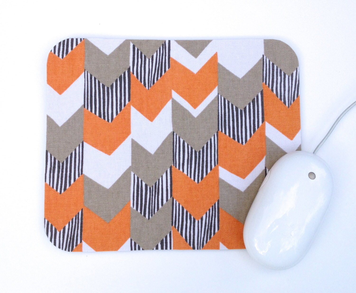 Orange And Gray Chevron Mouse Pad / Home Office Decor / White Rust Grey /  Slightly