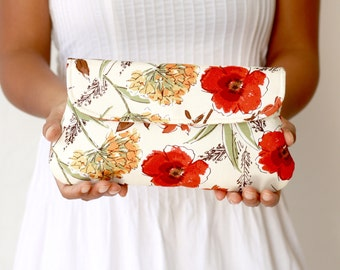 Bridesmaid clutch - simple wedding clutch honeycrisp red floral in cream