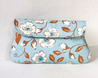 Floral Blue and White clutch, fabric clutch, gift for her