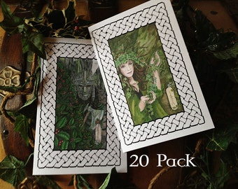 Holly & Ivy Yule Holiday Card 20 Pack, Your Choice of Art
