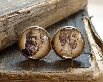 Philosophy Cufflinks - Socrates and Plato Cuff Links in Brass