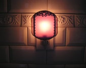 Nightlight|Stained Glass|Pink with Bow and Flowers|Pink|Bow|Floral|Feminine Nightlight|Home and Living|Lighting|Lamp|Handcrafted|Made in USA