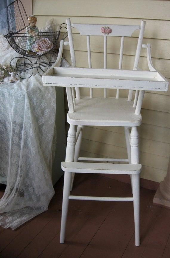 Vintage High Chair Shabby Chic French Farmhouse Shabby Chic