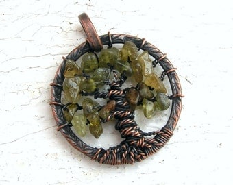 Green Garnet Tree of Life Pendant Copper Wire Wrapped - MADE TO ORDER